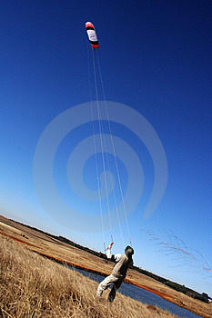 Flying A Kite Free Stock Photography