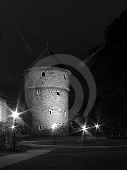 Tallinn In The Night. Stock Photos