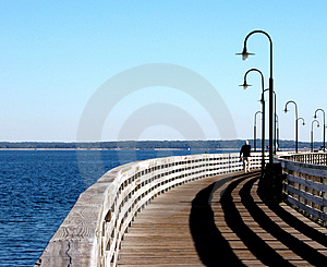 Walking The Pier Free Stock Image