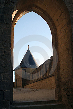 View At A Castle Tower Through An Archway Free Stock Photo