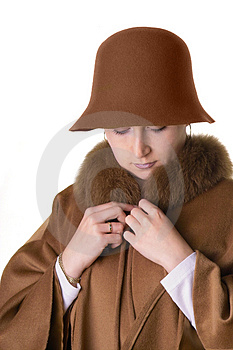 Lady In Hat And Coat Stock Photos