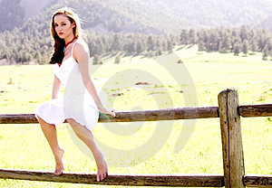 Beautiful Model on a fence Royalty Free Stock Photo