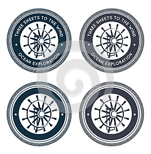 Nautical Emblem With Steering Wheel Stock Photos - Image: 26011563