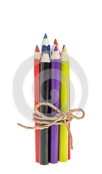 Colored Pencils Tied With A Rope Stock Images - Image: 26013154