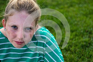 Adolescent On A Green Field Royalty Free Stock Photos - Image: 26017818