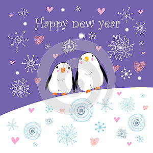 Greeting Card With Penguins Royalty Free Stock Photos - Image: 26034908