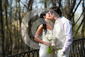 Kiss Bride And Groom In Walking Stock Image - Image: 26053851