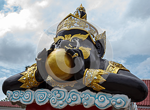 The Moon In Rahu Mouth At Wat Saman Stock Photos - Image: 26058843
