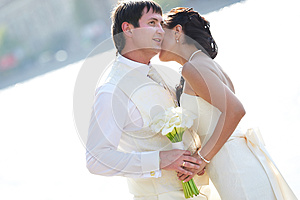 Bride And Groom Near River Stock Images - Image: 26075744