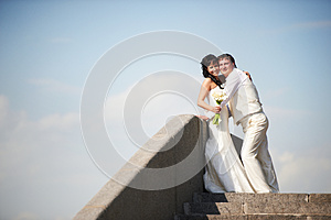 Bride And Groom On Wedding Walk Stock Images - Image: 26075764