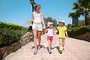 Walking With Children Stock Images - Image: 2614224