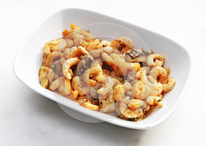Shrimp With Mushrooms And Butter Royalty Free Stock Photos - Image: 26103748