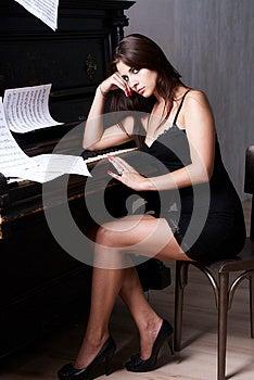 Sad Girl Near Piano Royalty Free Stock Image - Image: 26116816