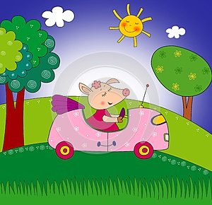 Piggy On The Car Stock Image - Image: 26129371