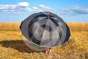 Little Girl Hiding Under Umbrella Stock Photography - Image: 26134152