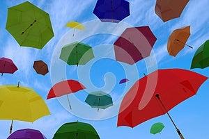 Flying Of Multicoloured Umbrellas Royalty Free Stock Photos - Image: 26160648
