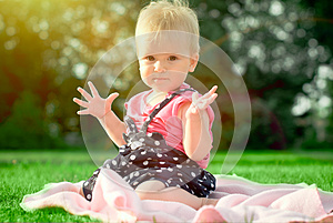 Little Girl On The Summer Meadow Royalty Free Stock Images - Image: 26161799