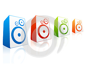 Collection Of Colored Loud Speakers Royalty Free Stock Images - Image: 26171659