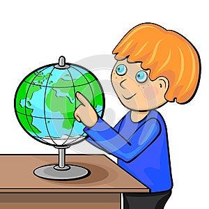 Boy With Globe Royalty Free Stock Image - Image: 26189956