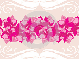 Ornamental Border With Blooming Pink Flowers Royalty Free Stock Image - Image: 26235576