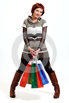 Attractive Woman Holding Shopping Bags Stock Photos - Image: 26236923