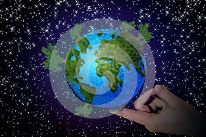 Abstract Planet On Finger Stock Images - Image: 26238774