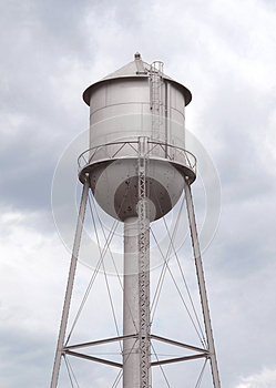 Old Fashioned Gray Metal Water Tower Stock Image - Image: 26244561