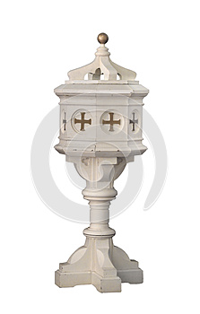 Old White Wooden Baptismal Isolated. Royalty Free Stock Photo - Image: 26244995