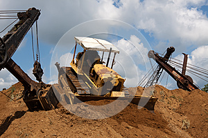 Earthmovers In Action Royalty Free Stock Photo - Image: 26246665