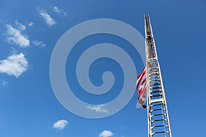 Fireman's Ladder And American Flag Royalty Free Stock Photography - Image: 26281677