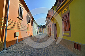 Sighisoara Yellow Green Royalty Free Stock Image - Image: 26284776