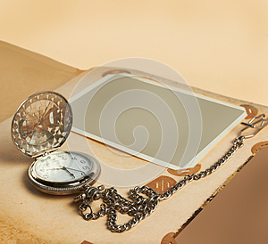 Album Page With Vintage Clock Stock Photo - Image: 26287550