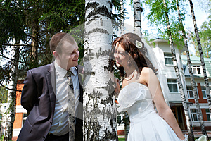 Happy Bride And Groom Near Birch Stock Photo - Image: 26305720