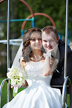 Happy Bride And Groom In Wedding Day Stock Images - Image: 26305834