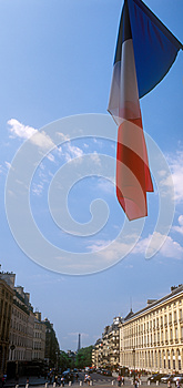 French Flag Over A Paris. Royalty Free Stock Image - Image: 26321986