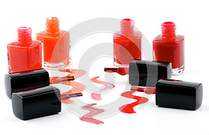 Bright Nail Varnishs And Spilled With Brushes Stock Photo - Image: 26325070