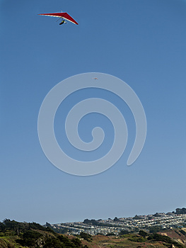 Red Hang Glider Above Royalty Free Stock Photo - Image: 26351835