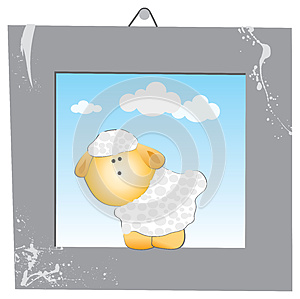 The White Sheep In The Gray Frame Royalty Free Stock Photography - Image: 26357557