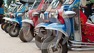Tuk-tuk Taxis In Thailand Royalty Free Stock Photography - Image: 26363827