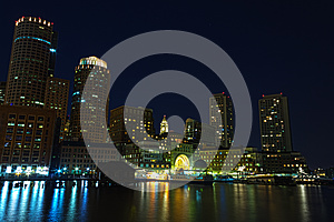 Boston By Night Stock Images - Image: 26377754