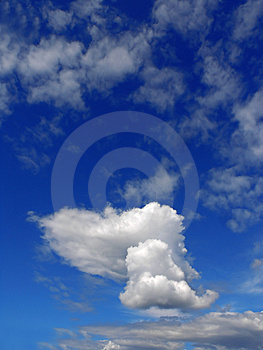 sky with fluffy clouds Royalty Free Stock Image