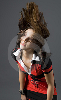 Hair throw woman Stock Photo