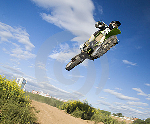 Flying moto Stock Images