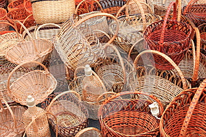 Many Beautiful Wooden Wicker Baskets Royalty Free Stock Images - Image: 26432879
