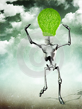 Humanoid With Light Bulb Head Stock Photos - Image: 26473873