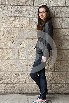 Grunge Girl In Leather Jacket Stock Images - Image: 26477394