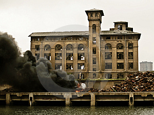 Accident, Crane On Fire Royalty Free Stock Photography - Image: 2650717