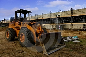 Bulldozer and construction Free Stock Photography