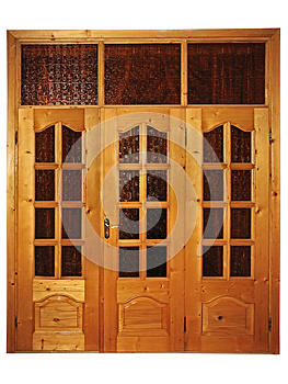 Closed Natural Wooden Triple Door Royalty Free Stock Photo - Image: 26500855