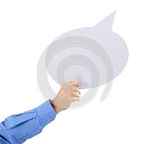 Arm Holding A Speech Bubble Stock Photos - Image: 26501763
